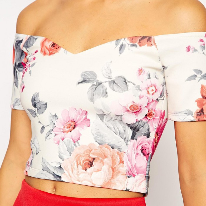 Off shoulder top sweetheart neck and flower print