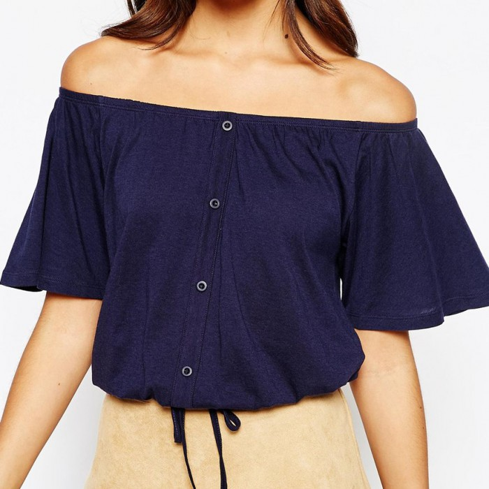 Navy off shoulder top with buttons