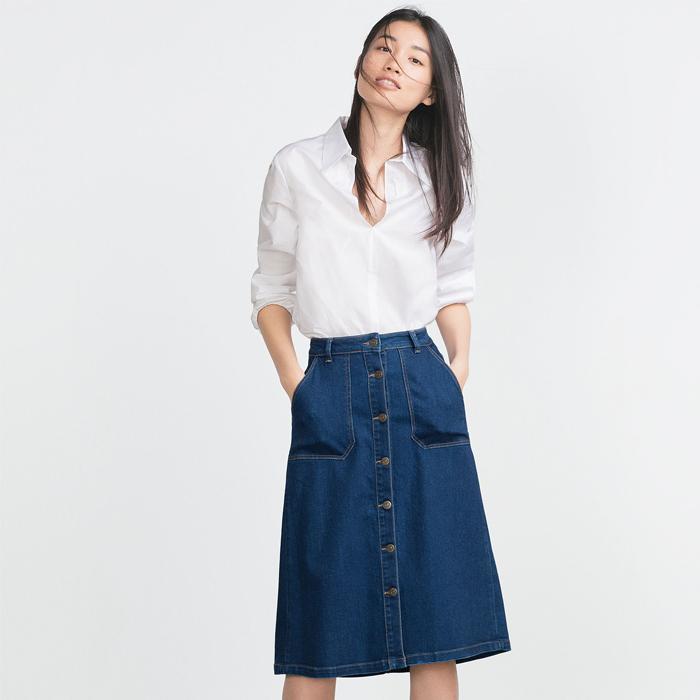 Midi length Button Front Skirt in denim