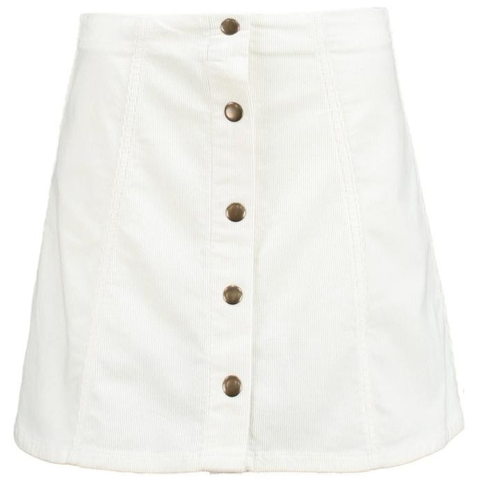 White rib Button Front Skirt