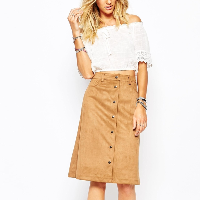Faux suede midi Button Front Skirt