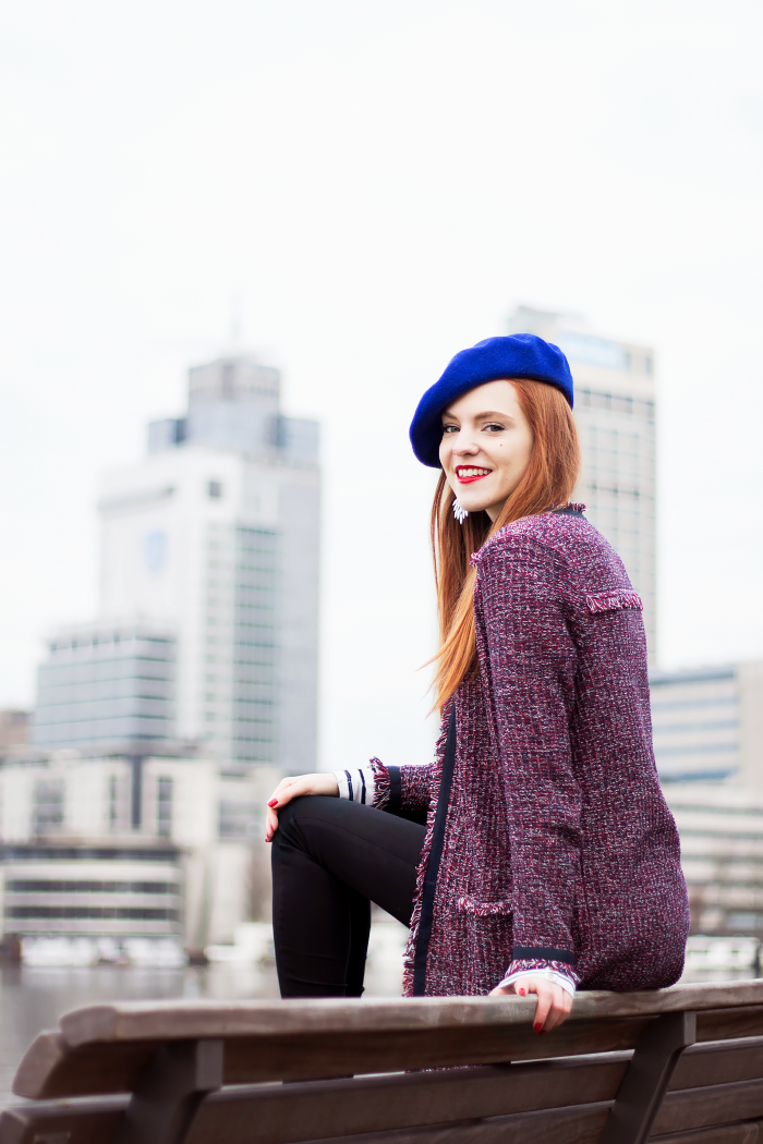 97a94c177ae6 2016-02-29-Outfit-Chanel-Style-Cardigan-Blue-Red-White-Stripes-Beret ...